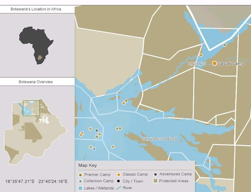 Oversikt over alle WIlderness camper i Savuti og Okavango